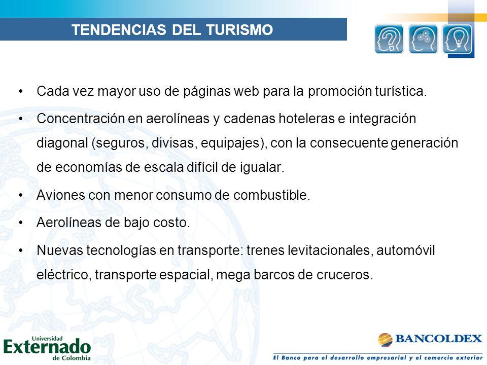 Cada vez mayor uso de páginas web para la promoción turística. Concentración en aerolíneas y cadenas hoteleras e integración diagonal (seguros, divisa