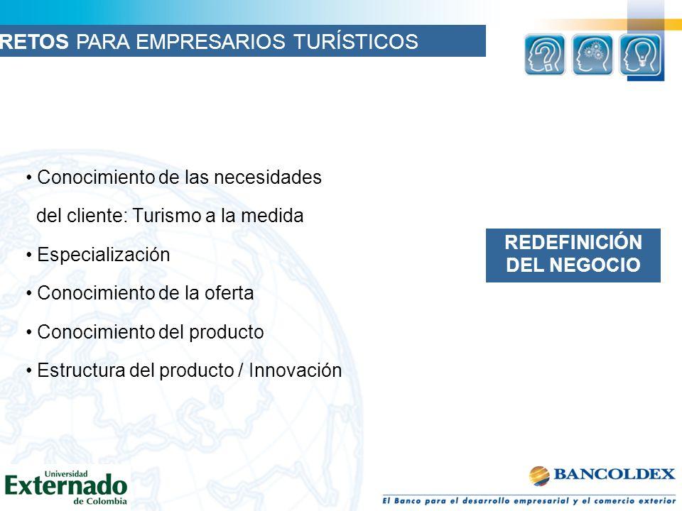 Conocimiento de las necesidades del cliente: Turismo a la medida Especialización Conocimiento de la oferta Conocimiento del producto Estructura del producto / Innovación REDEFINICIÓN DEL NEGOCIO RETOS PARA EMPRESARIOS TURÍSTICOS