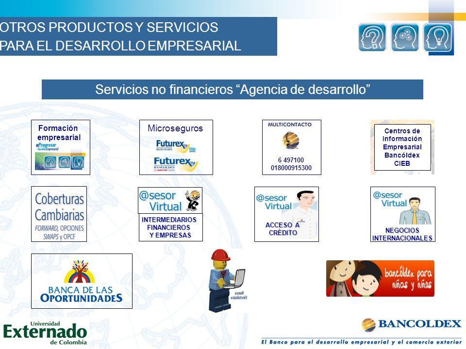 Servicios no financieros Agencia de desarrollo Formación empresarial Centros de Información Empresarial Bancóldex CIEB Microseguros ACCESO A ACCESO A