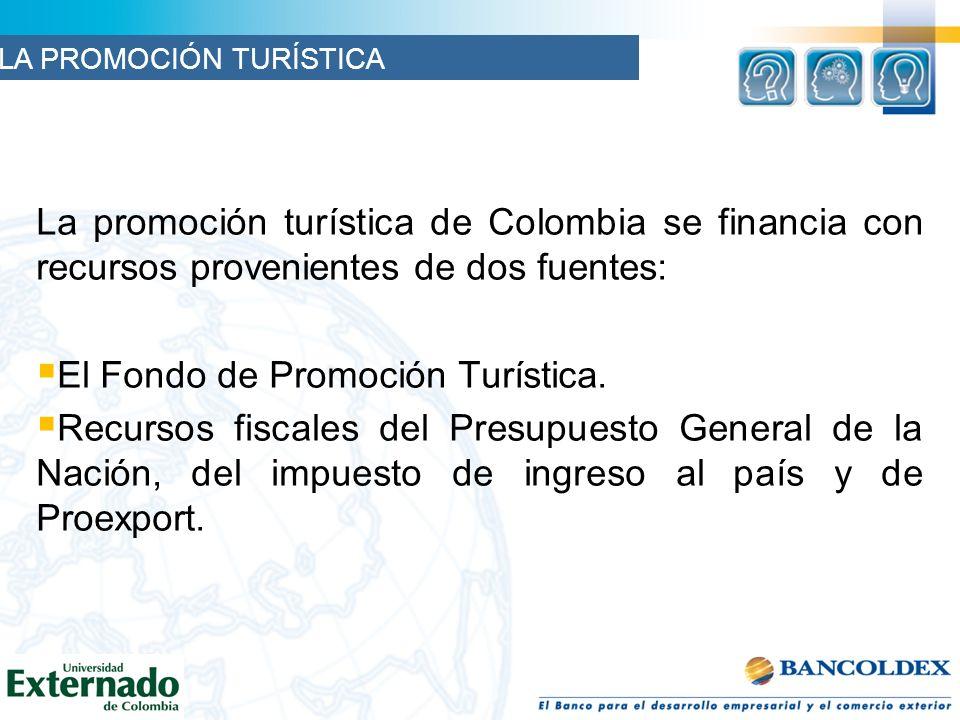 La promoción turística de Colombia se financia con recursos provenientes de dos fuentes: El Fondo de Promoción Turística.