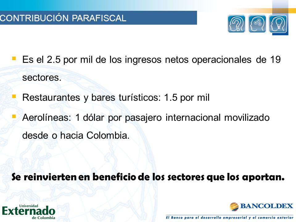 Es el 2.5 por mil de los ingresos netos operacionales de 19 sectores. Restaurantes y bares turísticos: 1.5 por mil Aerolíneas: 1 dólar por pasajero in