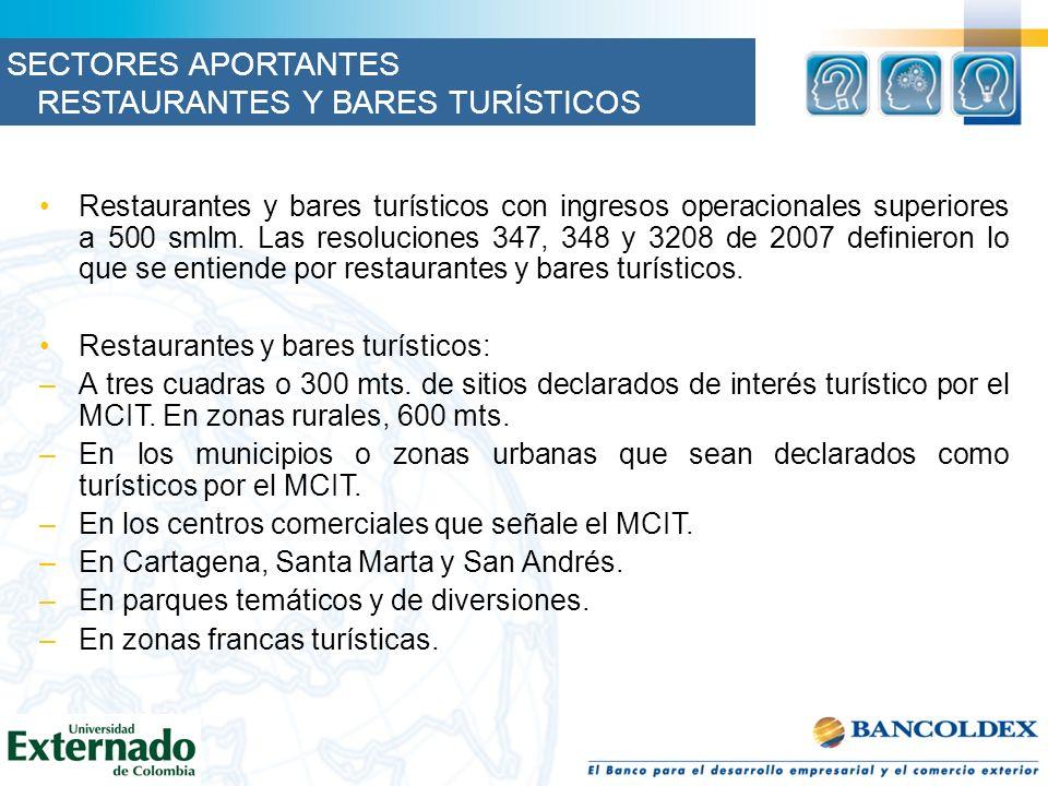 Restaurantes y bares turísticos con ingresos operacionales superiores a 500 smlm. Las resoluciones 347, 348 y 3208 de 2007 definieron lo que se entien