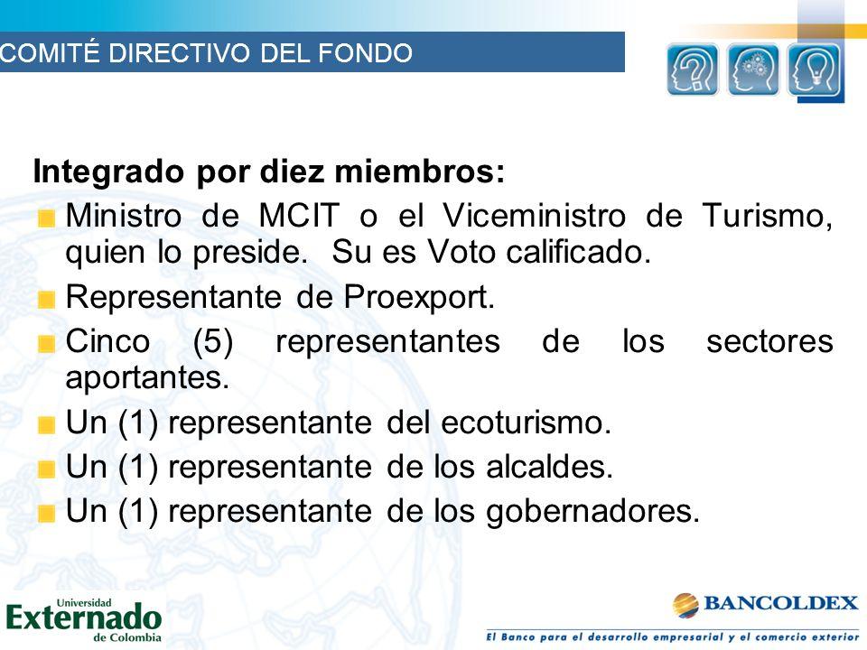 Integrado por diez miembros: Ministro de MCIT o el Viceministro de Turismo, quien lo preside.