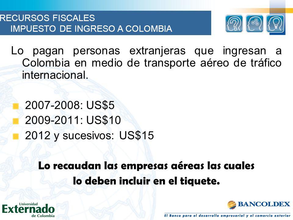 Lo pagan personas extranjeras que ingresan a Colombia en medio de transporte aéreo de tráfico internacional.