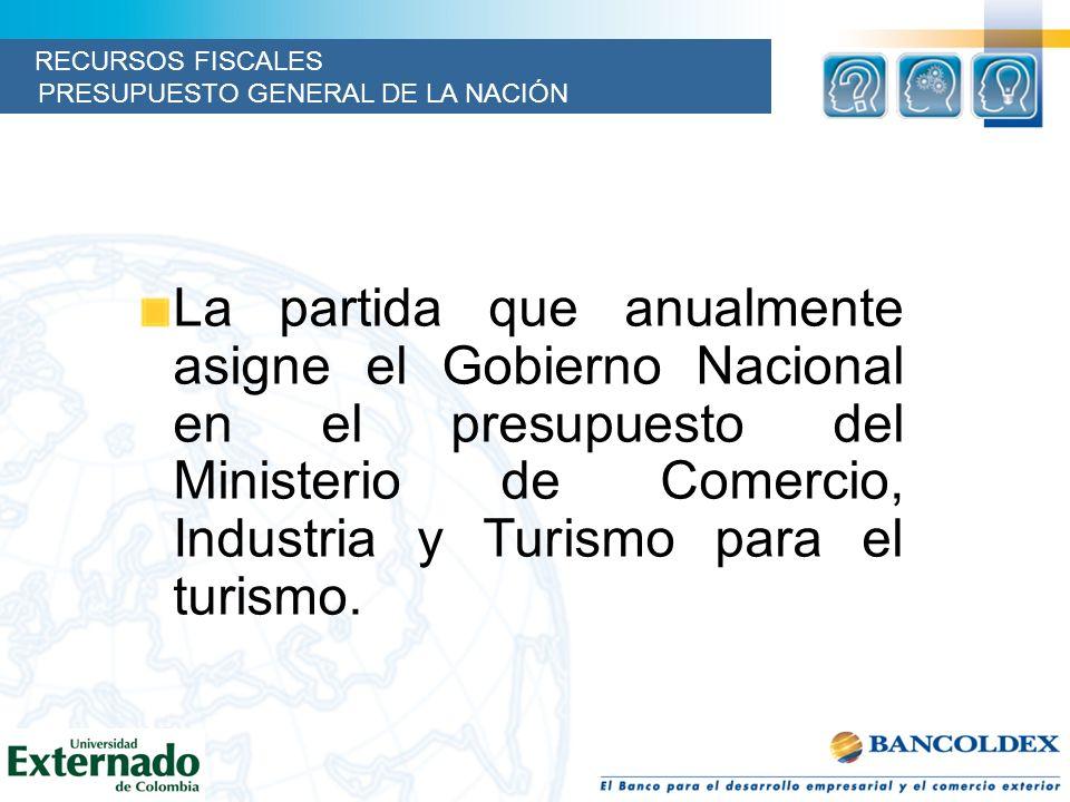 La partida que anualmente asigne el Gobierno Nacional en el presupuesto del Ministerio de Comercio, Industria y Turismo para el turismo. RECURSOS FISC