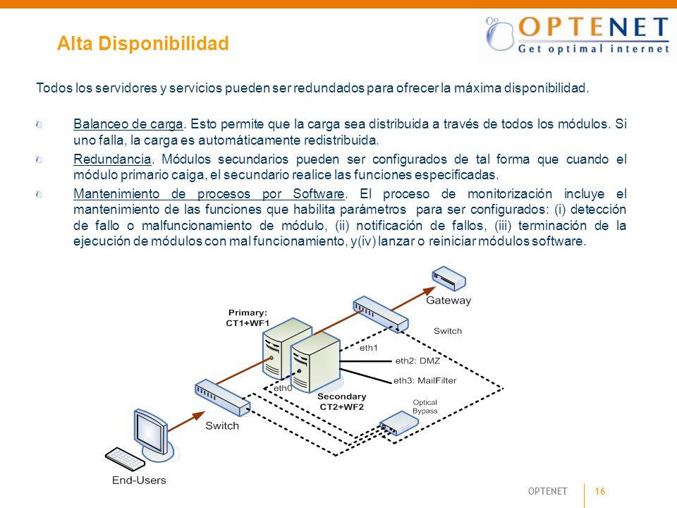 16 OPTENET Alta Disponibilidad Todos los servidores y servicios pueden ser redundados para ofrecer la máxima disponibilidad. Balanceo de carga. Esto p