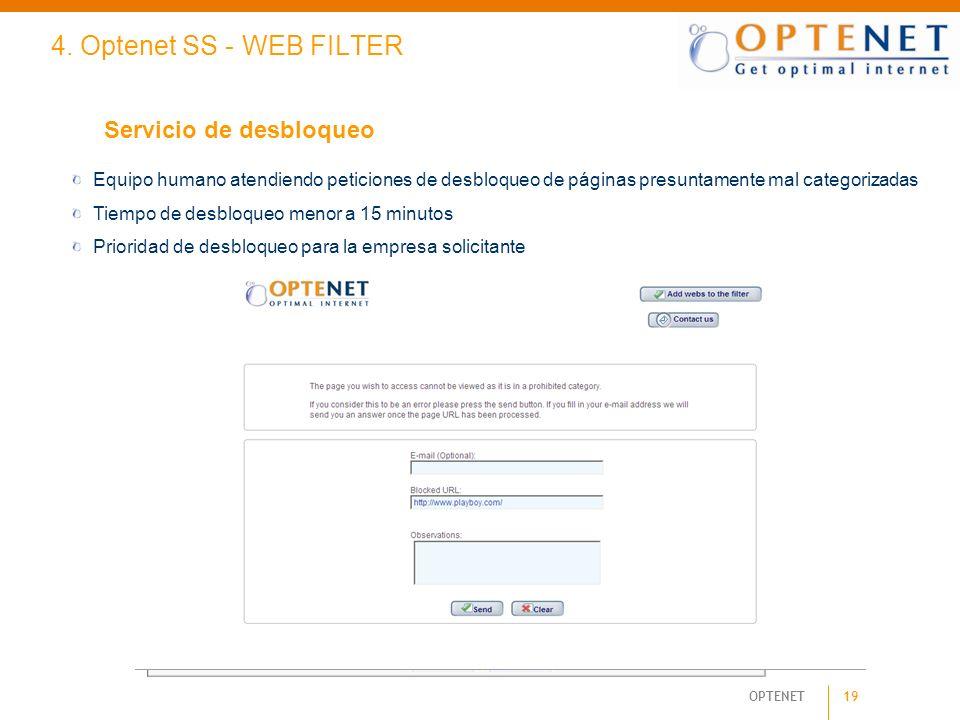 19 OPTENET 4. Optenet SS - WEB FILTER Servicio de desbloqueo Equipo humano atendiendo peticiones de desbloqueo de páginas presuntamente mal categoriza