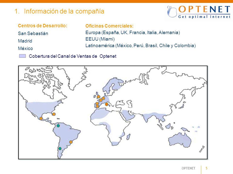 OPTENET 5 1.Información de la compañía Oficinas Comerciales: Europa (España, UK, Francia, Italia, Alemania) EEUU (Miami) Latinoamérica (México, Perú,