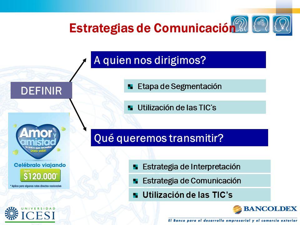 Estrategias de Comunicación A quien nos dirigimos? Qué queremos transmitir? DEFINIR Etapa de Segmentación Utilización de las TICs Estrategia de Interp