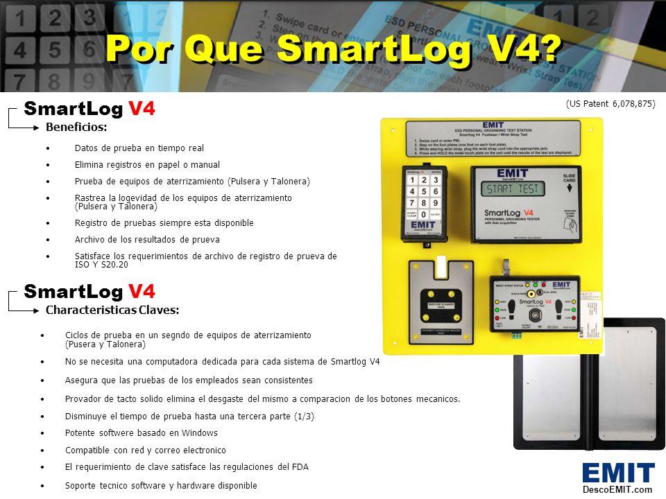 SmartLog V4 Hardware SmartLog V4 Hardware Caracteristicas del probador: Probador de tacto consistente Iluminador LED en azul que indica Listo para probar Prueba de pusera de cable sencillo o dual Pruebas independientes de calzado (cada pie individualmente) Prueba de componentes de aterrizamiento (pulsera o talonera) con ciclos de prueba de un segundo Alarmas de audio y visuales Caracteristicas del reloj: RAM interno grande (con capasidad para 10,000 identificaciones de usuarios) Terminal de Relevador para poder abrir puertas Pantalla LCD de 1 X 4 que muestra 7 idoiomas diferentes Lector de codigo de barras infrarrojo para uso con codigos de barra 39 y 128 Se pueden conectar hasta 32 SmartLogs V4 en serie (cadena) Characteristicas de Teclado: Teclado de 10 dijitos opcional para entrar las identificaciones de los empleados Caracteristicas del plato del pie: Placa para los pies durable y resistente Diseno dividido para probar cada pie individualmente DescoEMIT.com (US Patent 6,078,875)