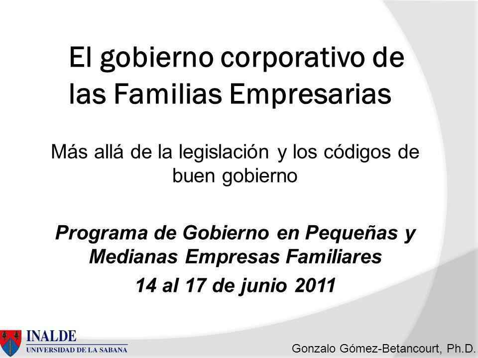 Gonzalo Gómez-Betancourt, Ph.D.Crisis desatadas en los gobiernos corporativos de...