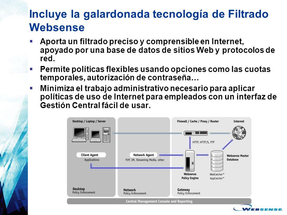 Incluye la galardonada tecnología de Filtrado Websense Aporta un filtrado preciso y comprensible en Internet, apoyado por una base de datos de sitios