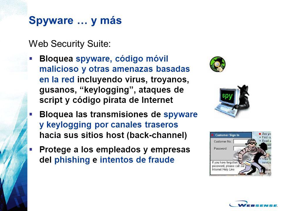 Spyware … y más Web Security Suite: Bloquea spyware, código móvil malicioso y otras amenazas basadas en la red incluyendo virus, troyanos, gusanos, ke