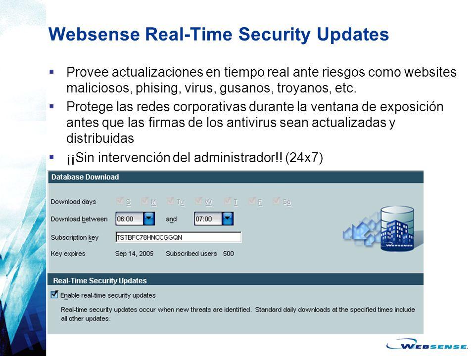 Websense Real-Time Security Updates Provee actualizaciones en tiempo real ante riesgos como websites maliciosos, phising, virus, gusanos, troyanos, et