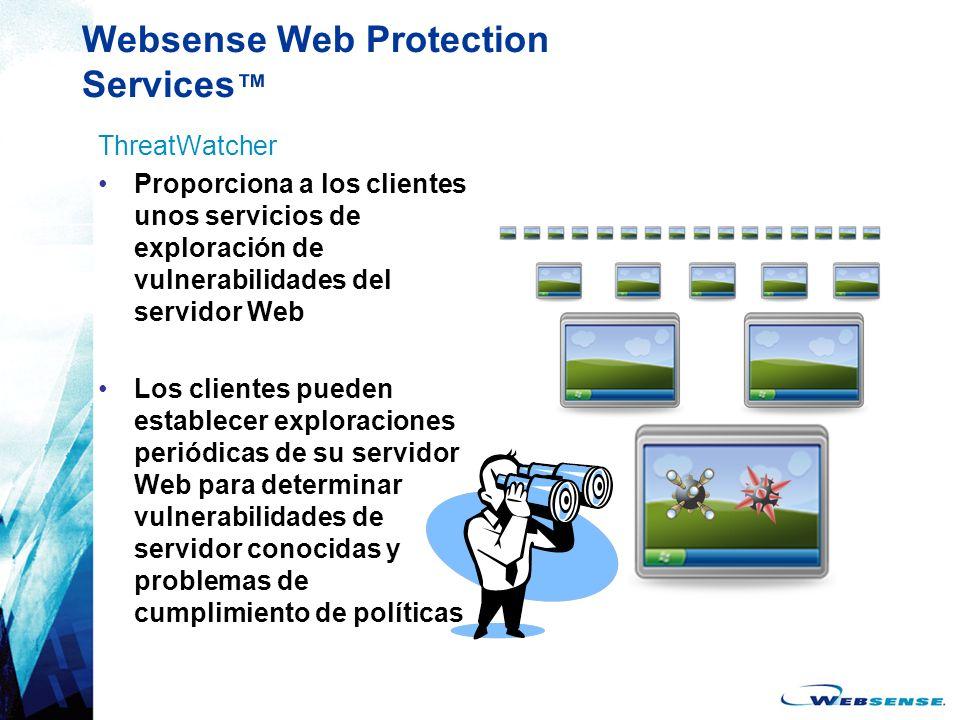 Websense Web Protection Services ThreatWatcher Proporciona a los clientes unos servicios de exploración de vulnerabilidades del servidor Web Los clien