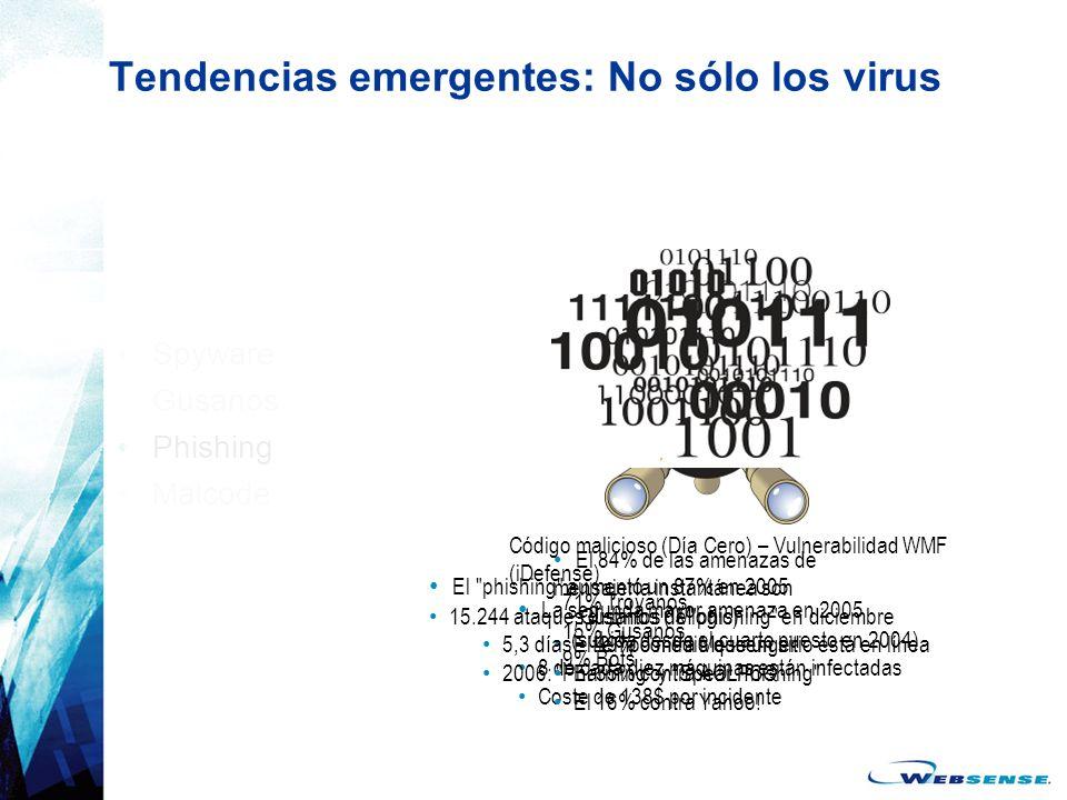 Tendencias emergentes: No sólo los virus Spyware Gusanos Phishing Malcode La segunda mayor amenaza en 2005 (subida desde el cuarto puesto en 2004) 8 d