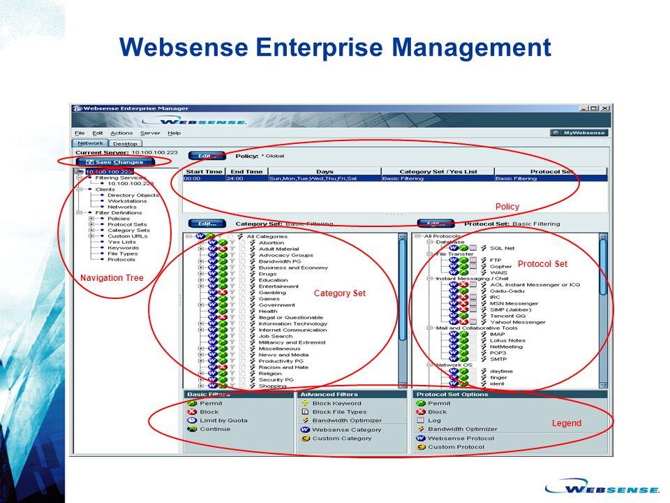 Websense Enterprise Management Navigation Tree Category Set Policy Protocol Set Legend