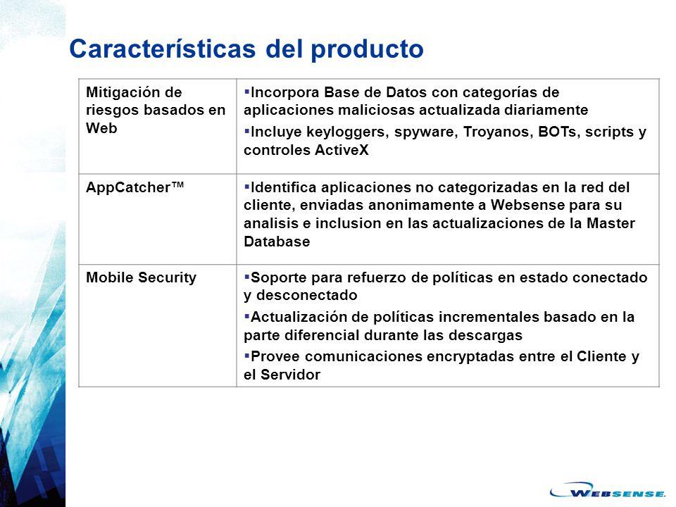 Características del producto Mitigación de riesgos basados en Web Incorpora Base de Datos con categorías de aplicaciones maliciosas actualizada diaria