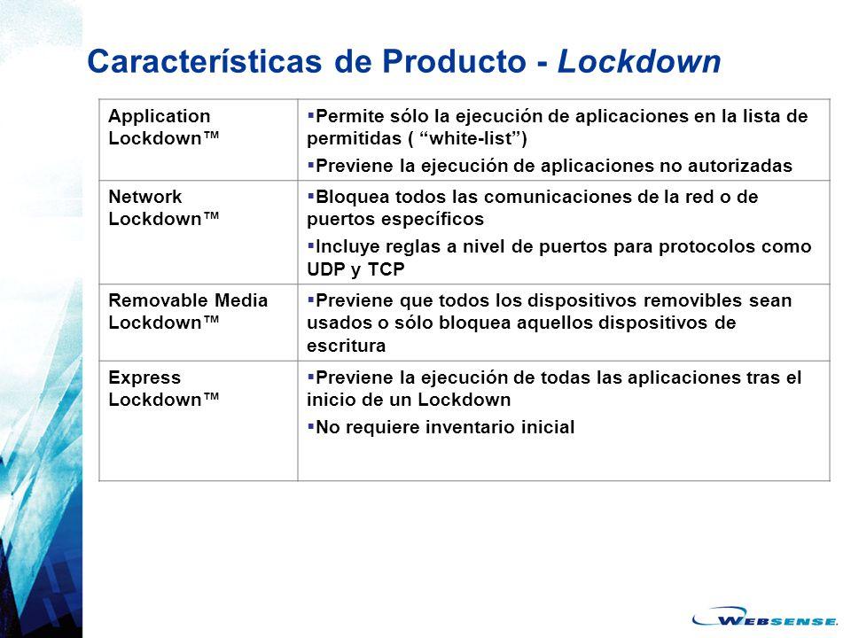 Características de Producto - Lockdown Application Lockdown Permite sólo la ejecución de aplicaciones en la lista de permitidas ( white-list) Previene