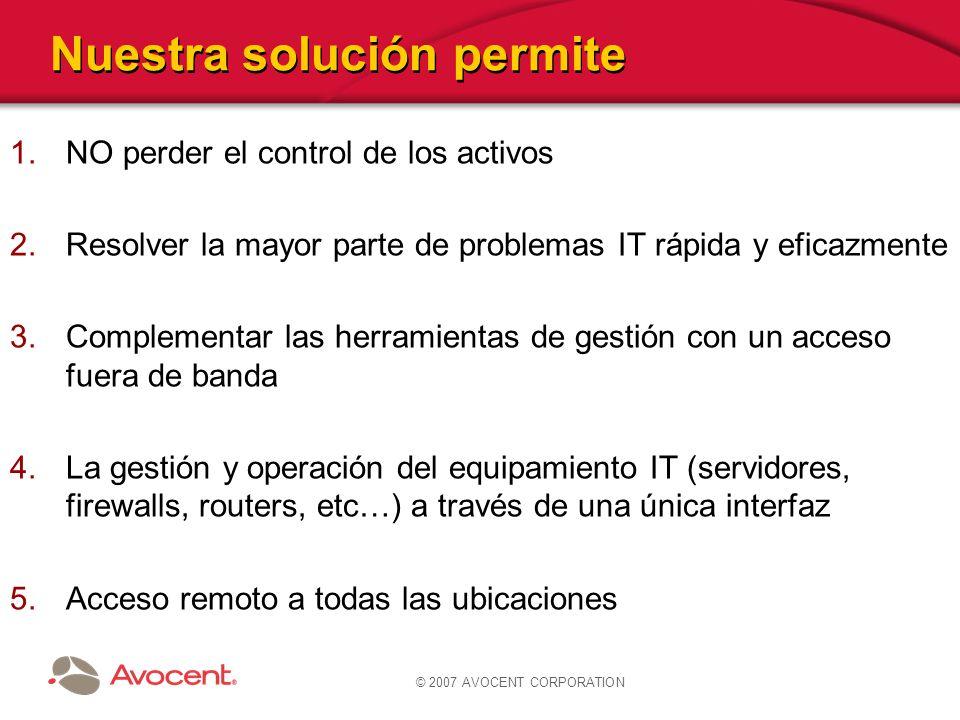 © 2007 AVOCENT CORPORATION Nuestra solución permite 1.NO perder el control de los activos 2.Resolver la mayor parte de problemas IT rápida y eficazmen