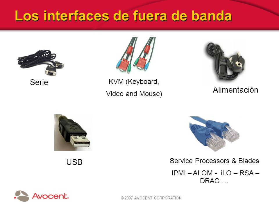 © 2007 AVOCENT CORPORATION Los interfaces de fuera de banda KVM (Keyboard, Video and Mouse) Serie Service Processors & Blades IPMI – ALOM - iLO – RSA