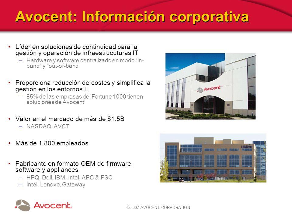© 2007 AVOCENT CORPORATION Avocent: Información corporativa Líder en soluciones de continuidad para la gestión y operación de infraestrucuturas IT –Ha