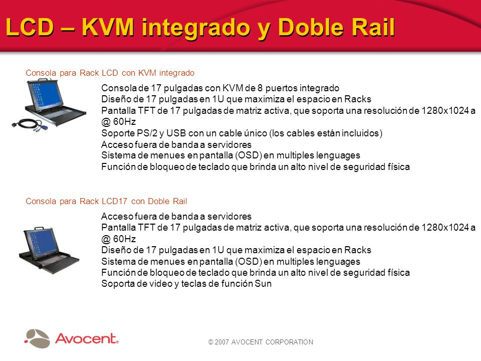 © 2007 AVOCENT CORPORATION LCD – KVM integrado y Doble Rail Consola para Rack LCD con KVM integrado Consola de 17 pulgadas con KVM de 8 puertos integr