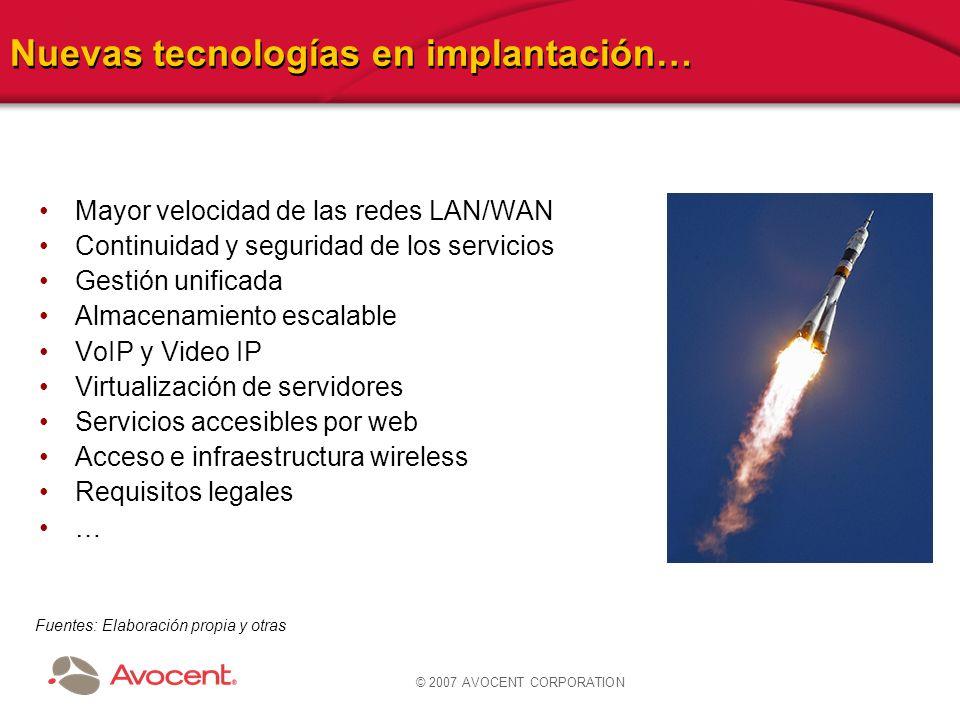 © 2007 AVOCENT CORPORATION Nuevas tecnologías en implantación… Mayor velocidad de las redes LAN/WAN Continuidad y seguridad de los servicios Gestión u