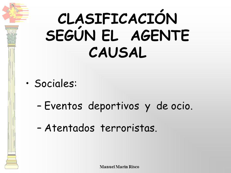 Manuel Marin Risco Sociales: –Eventos deportivos y de ocio. –Atentados terroristas. CLASIFICACIÓN SEGÚN EL AGENTE CAUSAL