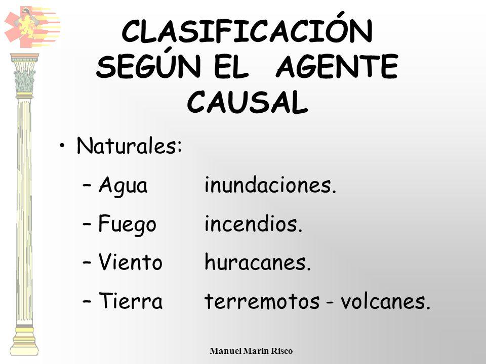 Manuel Marin Risco CLASIFICACIÓN SEGÚN EL AGENTE CAUSAL Naturales: –Aguainundaciones. –Fuegoincendios. –Vientohuracanes. –Tierraterremotos - volcanes.