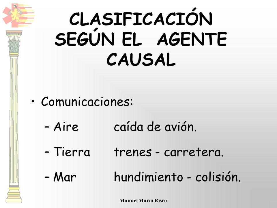 Manuel Marin Risco Comunicaciones: –Airecaída de avión. –Tierratrenes - carretera. –Marhundimiento - colisión. CLASIFICACIÓN SEGÚN EL AGENTE CAUSAL