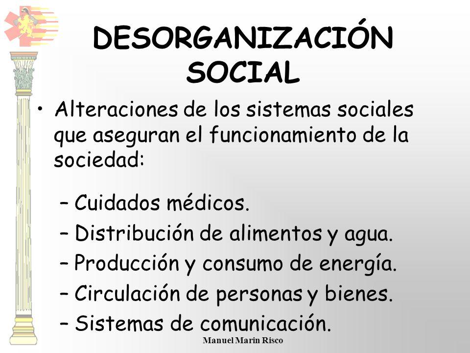 Manuel Marin Risco DESORGANIZACIÓN SOCIAL Alteraciones de los sistemas sociales que aseguran el funcionamiento de la sociedad: –Cuidados médicos. –Dis
