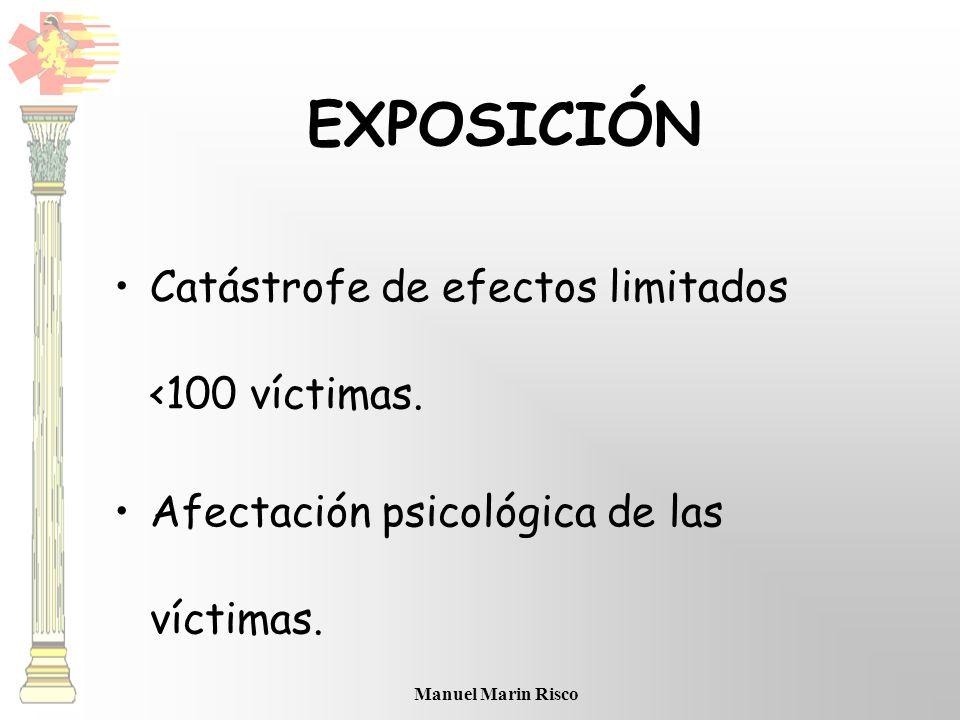 Manuel Marin Risco Catástrofe de efectos limitados <100 víctimas. Afectación psicológica de las víctimas. EXPOSICIÓN