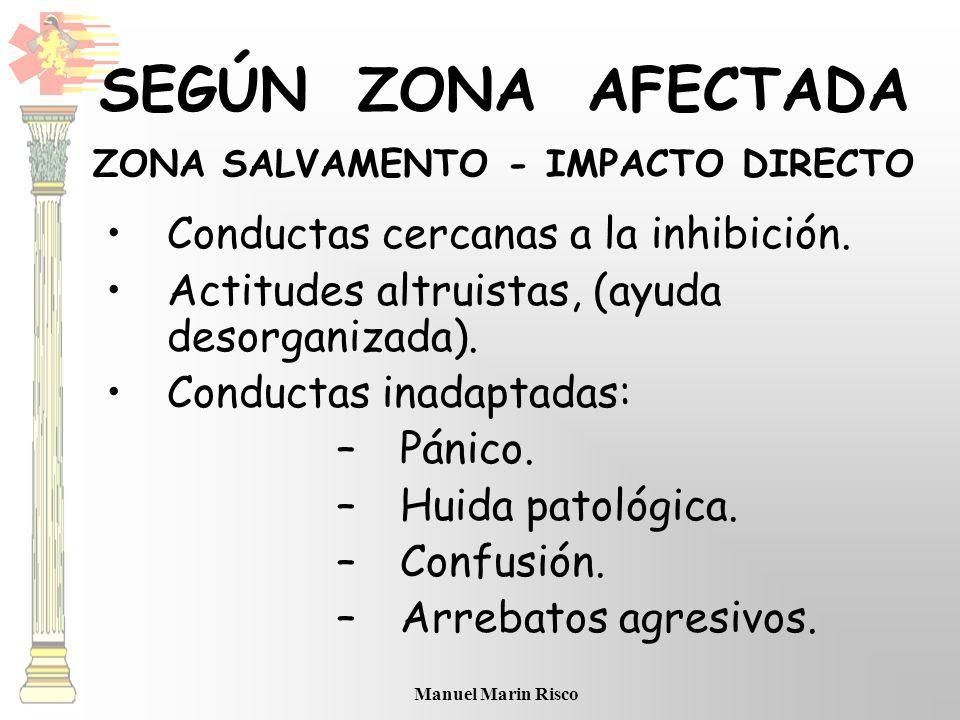 Manuel Marin Risco SEGÚN ZONA AFECTADA ZONA SALVAMENTO - IMPACTO DIRECTO Conductas cercanas a la inhibición. Actitudes altruistas, (ayuda desorganizad