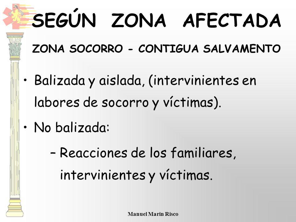 Manuel Marin Risco Balizada y aislada, (intervinientes en labores de socorro y víctimas). No balizada: –Reacciones de los familiares, intervinientes y