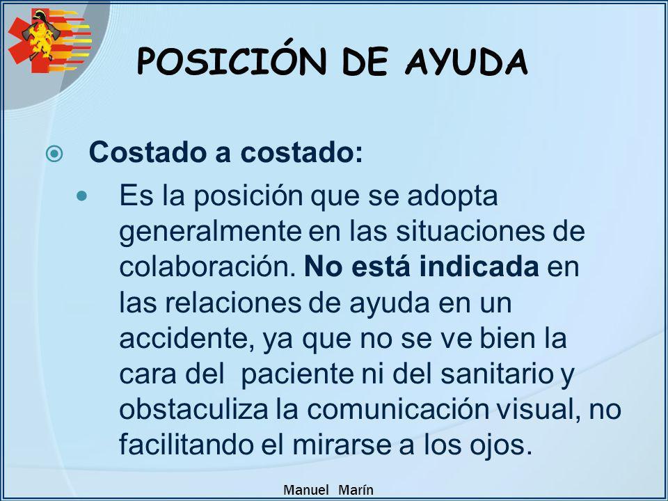Manuel Marín Costado a costado: Es la posición que se adopta generalmente en las situaciones de colaboración. No está indicada en las relaciones de ay