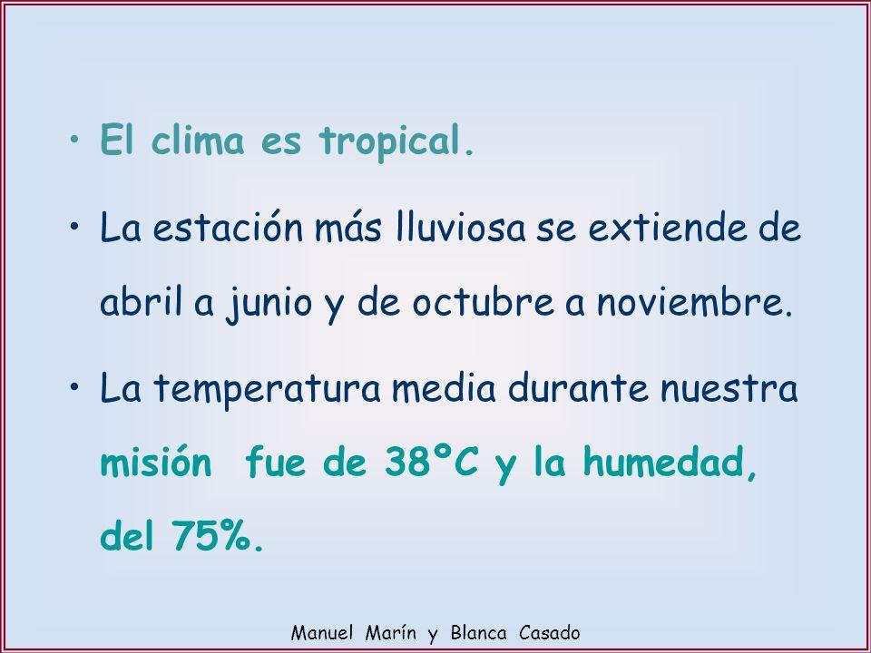 El clima es tropical. La estación más lluviosa se extiende de abril a junio y de octubre a noviembre. La temperatura media durante nuestra misión fue