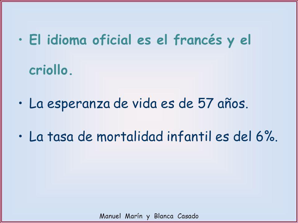 El idioma oficial es el francés y el criollo. La esperanza de vida es de 57 años. La tasa de mortalidad infantil es del 6%. Manuel Marín y Blanca Casa