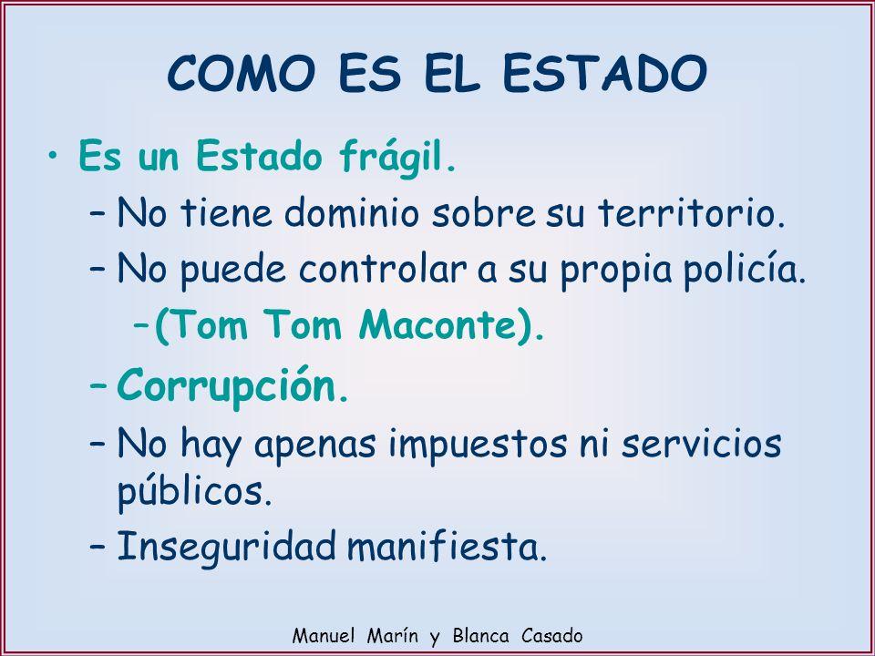 COMO ES EL ESTADO Es un Estado frágil. –No tiene dominio sobre su territorio. –No puede controlar a su propia policía. –(Tom Tom Maconte). –Corrupción