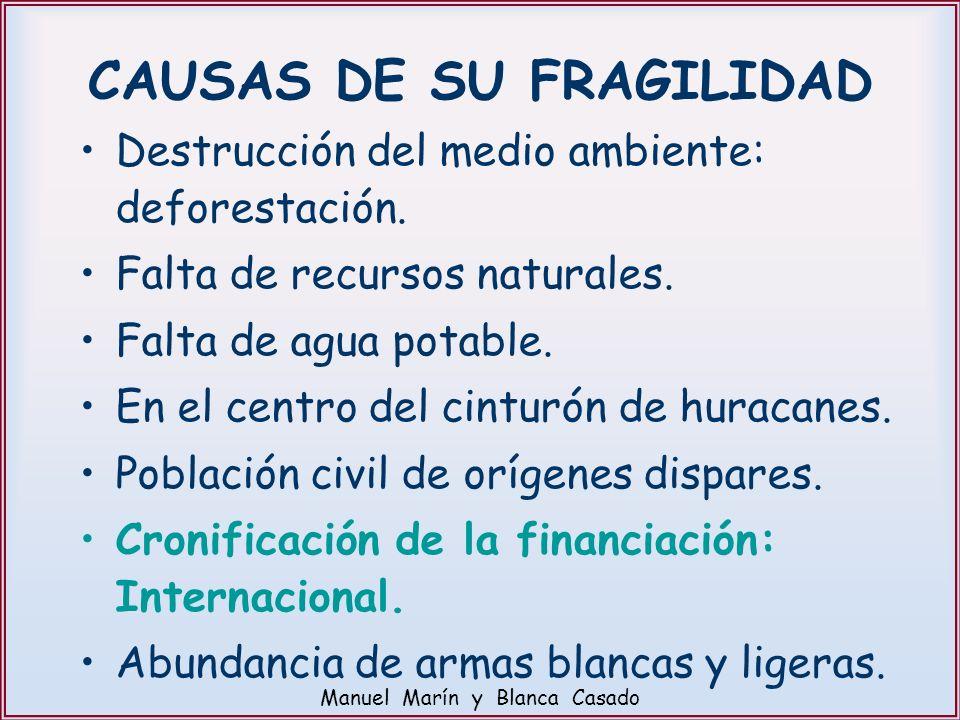 CAUSAS DE SU FRAGILIDAD Destrucción del medio ambiente: deforestación. Falta de recursos naturales. Falta de agua potable. En el centro del cinturón d