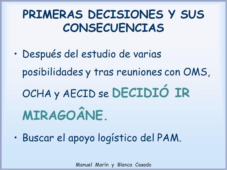 PRIMERAS DECISIONES Y SUS CONSECUENCIAS Después del estudio de varias posibilidades y tras reuniones con OMS, OCHA y AECID se DECIDIÓ IR MIRAGOÂNE. Bu