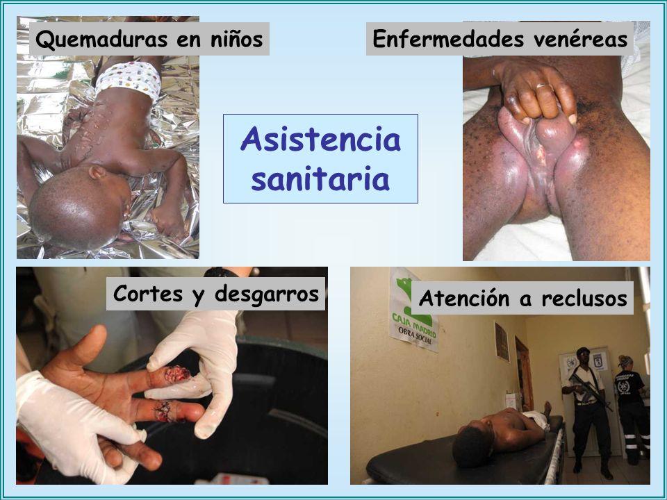 Quemaduras en niños Enfermedades venéreas Cortes y desgarros Atención a reclusos Asistencia sanitaria