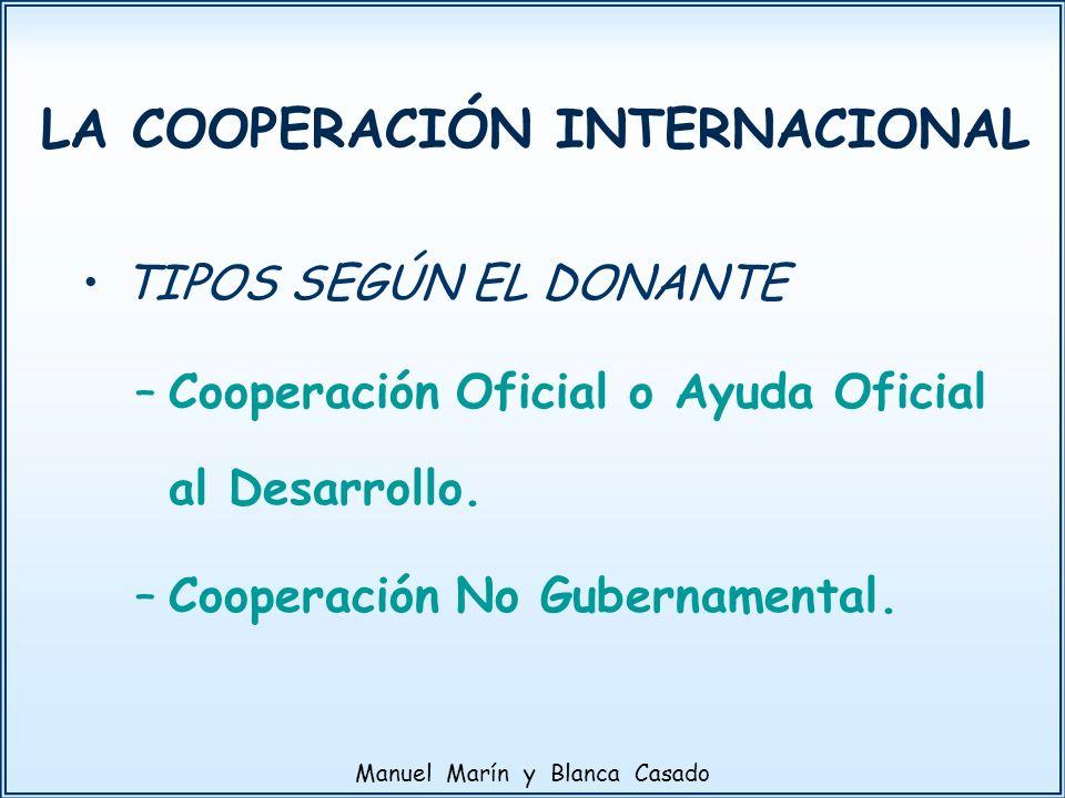 TIPOS SEGÚN EL DONANTE –Cooperación Oficial o Ayuda Oficial al Desarrollo. –Cooperación No Gubernamental. LA COOPERACIÓN INTERNACIONAL Manuel Marín y