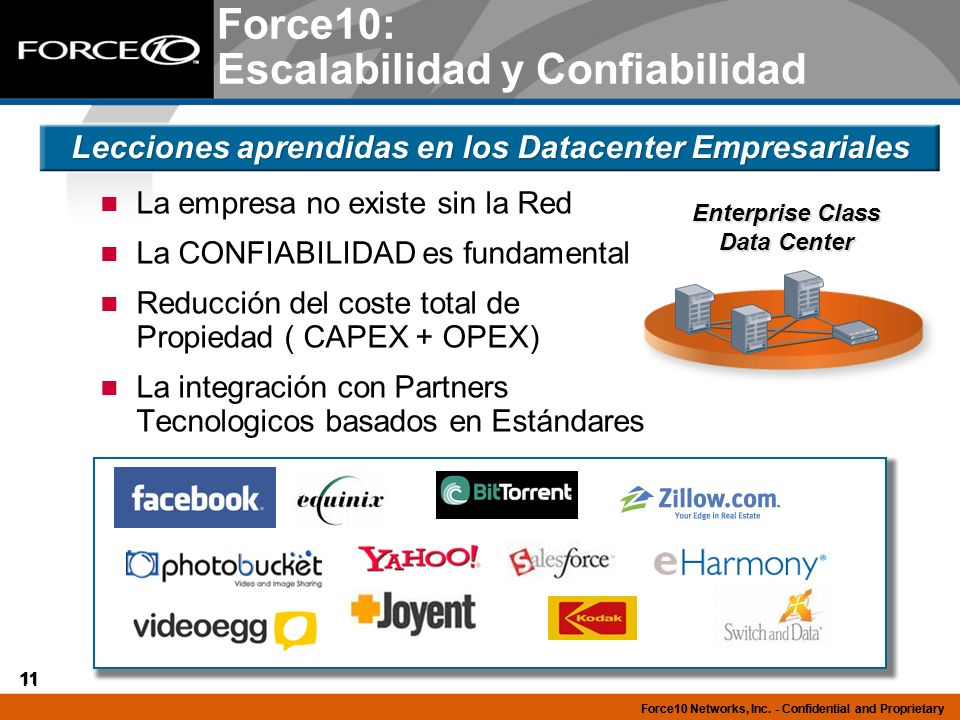 11 Force10 Networks, Inc. - Confidential and Proprietary 11 Force10 Networks, Inc. - Confidential and Proprietary Force10: Escalabilidad y Confiabilid