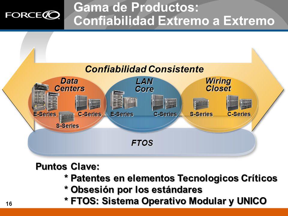 16 FTOS Gama de Productos: Confiabilidad Extremo a Extremo Confiabilidad Consistente S-Series C-Series E-Series C-Series S-Series C-Series E-Series Da
