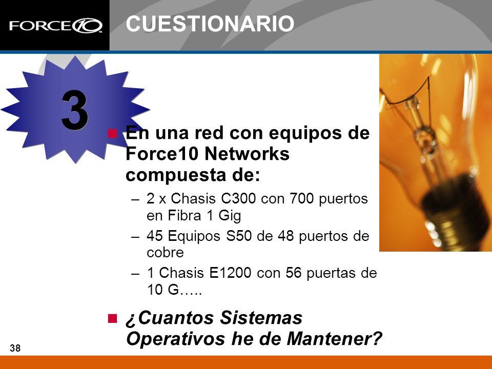 38 CUESTIONARIO En una red con equipos de Force10 Networks compuesta de: –2 x Chasis C300 con 700 puertos en Fibra 1 Gig –45 Equipos S50 de 48 puertos
