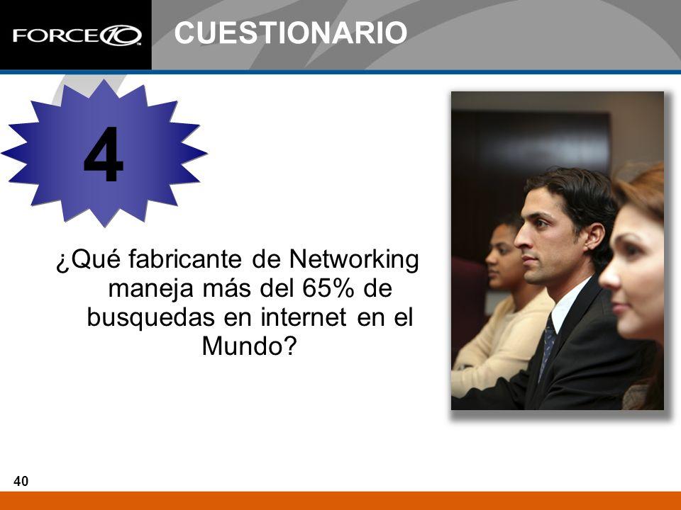 40 CUESTIONARIO ¿Qué fabricante de Networking maneja más del 65% de busquedas en internet en el Mundo? 4 4