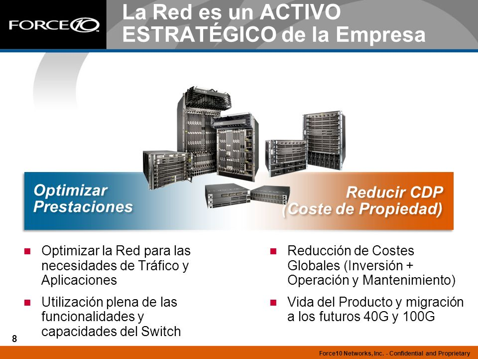 8 La Red es un ACTIVO ESTRATÉGICO de la Empresa Optimizar la Red para las necesidades de Tráfico y Aplicaciones Utilización plena de las funcionalidad