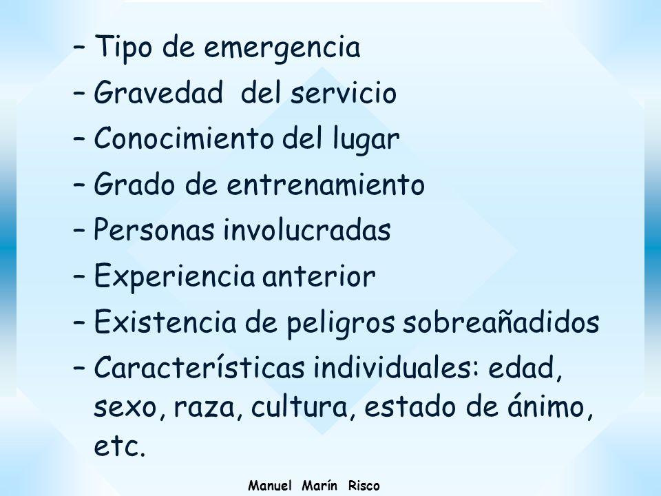 Manuel Marín Risco –Tipo de emergencia –Gravedad del servicio –Conocimiento del lugar –Grado de entrenamiento –Personas involucradas –Experiencia ante