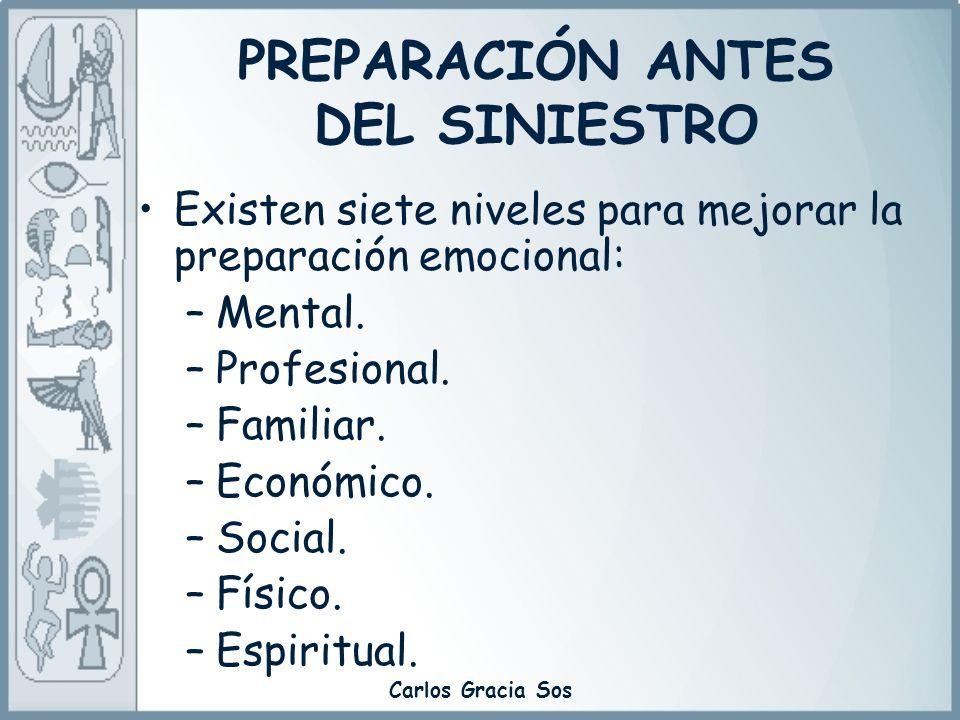 Carlos Gracia Sos PREPARACIÓN ANTES DEL SINIESTRO Existen siete niveles para mejorar la preparación emocional: –Mental. –Profesional. –Familiar. –Econ